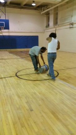 basketball court varnishing